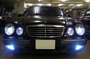 W211ルックヘッドライト、クリスタルFOG、ミラー、LEDテール取り付け