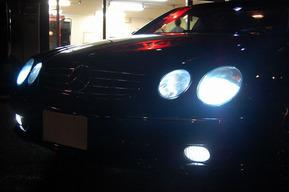 ベンツW215 ポジション&ナンバー灯LED化 ロービームHID8000K