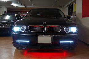 BMW E66 グリル内LED装飾 LEDイカリング ロービーム8000K取り付け