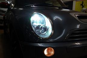 BMW MINI ハロゲンヘッドライトをHIDキット8000kへ交換
