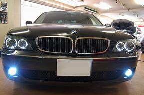 BMW E65後期 純正ハロゲンイカリングをLEDイカリングへ交換フォグHID取付け