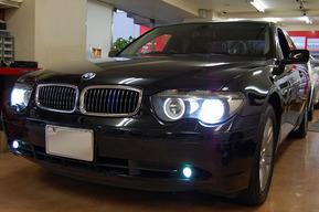 フォグランプHIDキット取り付け イカリングLED化 BMW E66