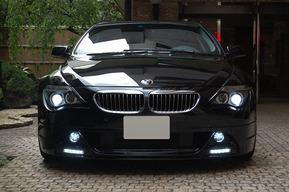 WALDフロントハーフ デイライト加工取り付け 地デジチューナー取り付け BMW E63