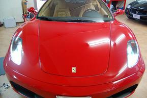 F430ヘッドライトHID交換  ポジション&ナンバー灯LEDバルブ交換