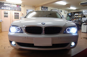 BMW E66 フォグランプ、イカリングLED化 HIDバルブ6000k