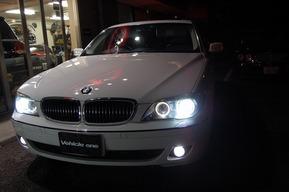 BMW E66 イカリングLEDバルブ交換カスタム FOGランプHIDキット取り付け